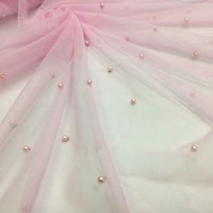 Tulle roz-pastel cu perle