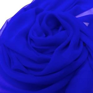 Voal georgette de matase naturala albastru-royal
