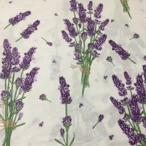 Bumbac ranforce imprimeu flori lavanda