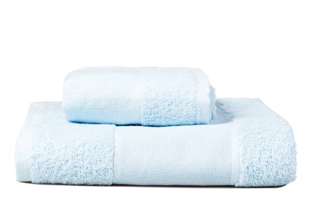 Stack of embroidery towels, blue