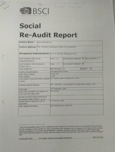 BSCI Report 2009 for compliance and audit