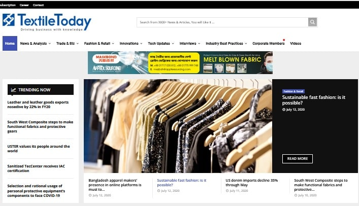 Home page of Textile Today
