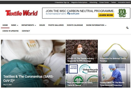 home page of textile world