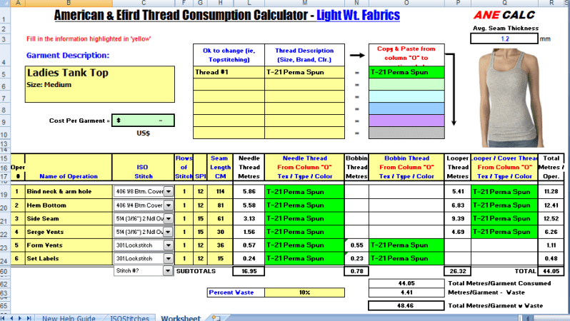 Sewing Thread Consumption Formula