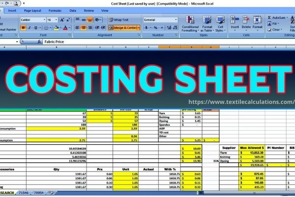 Costing sheet in .xl