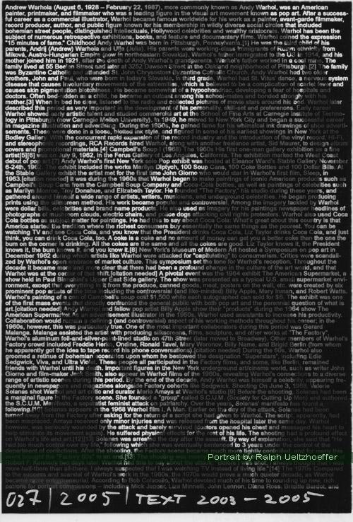 Andy Warhol, Ralph Ueltzhoeffer (2009) Textportrait