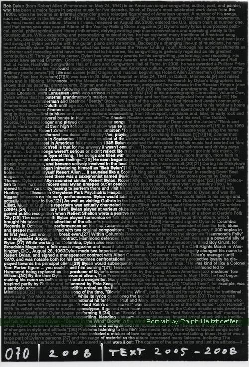 Bob Dylan, Ralph Ueltzhoeffer Textportrait