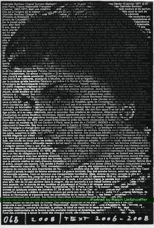 Coco Chanel, Ralph Ueltzhoeffer Textportrait