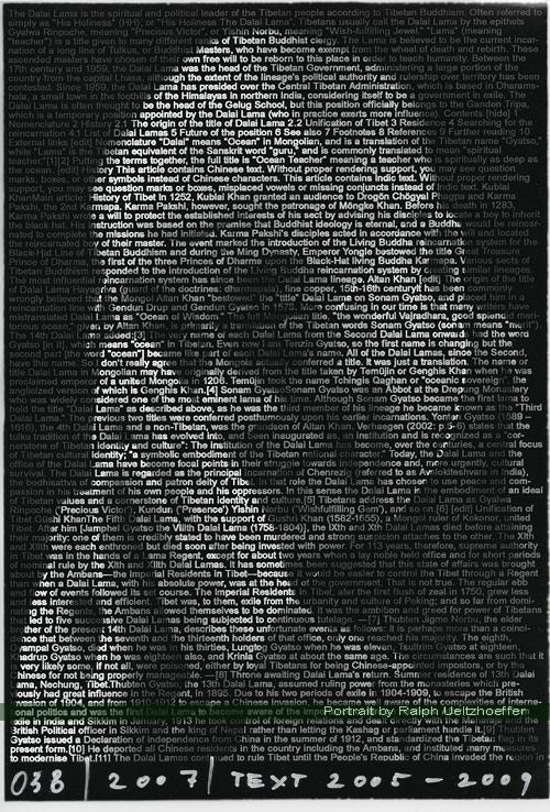 Dalai Lama, Ralph Ueltzhoeffer Textportrait