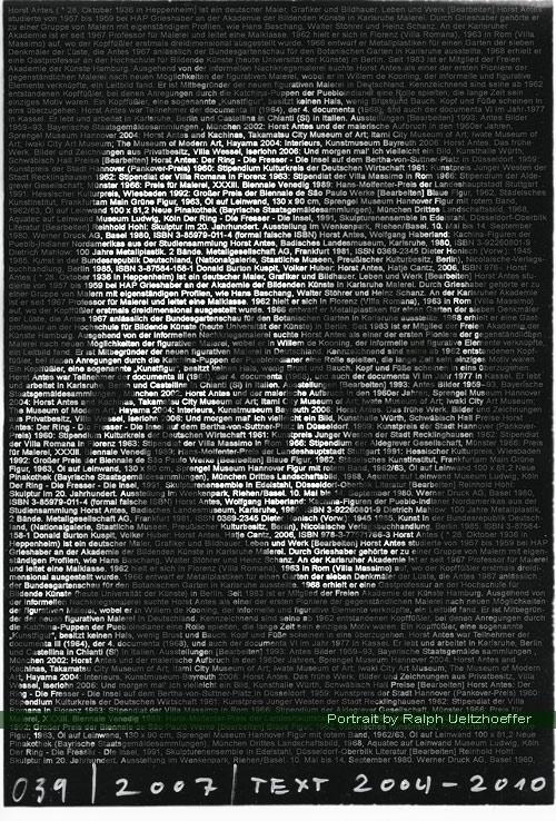 Horst Antes, Ralph Ueltzhoeffer Textportrait