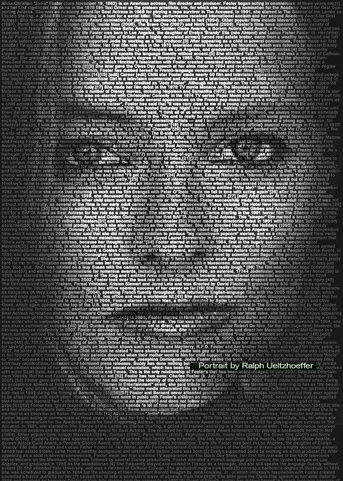 Jodie Foster, Text Portrait, Ralph Ueltzhoeffer (*1962)