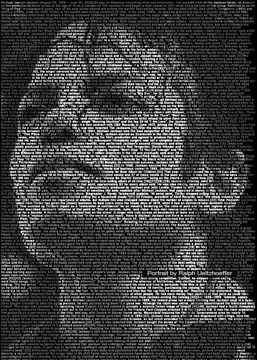 Michael Jackson, Text Portrait, Ralph Ueltzhoeffer (*1958)