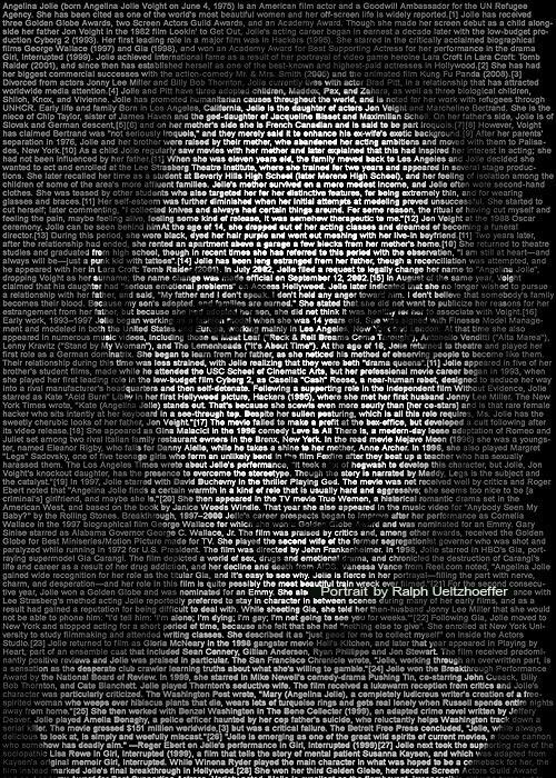 Angelina Jolie, Text Portrait, Ralph Ueltzhoeffer (*1967)