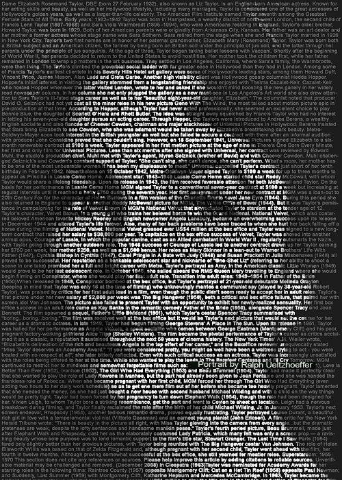 Elizabeth Taylor, Text Portrait, Ralph Ueltzhoeffer (*1932)