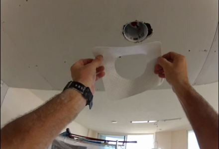 How to repair drywall miscuts around can lights and electrical boxes.
