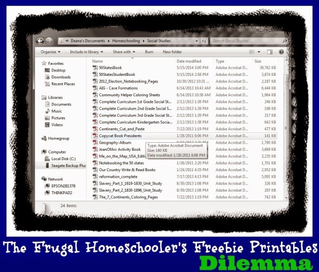 Frugal homeschooler's freebie printables dilemma: what to do with them?