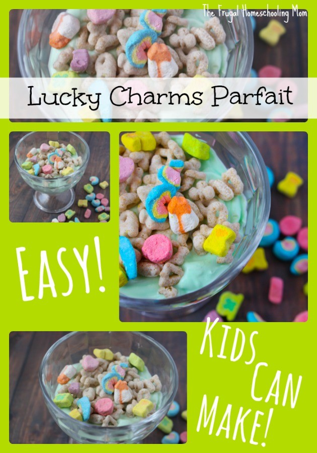 Lucky Charms Parfait Kids Can Cook Easy Recipe Frugal Homeschooling Mom TFHSM