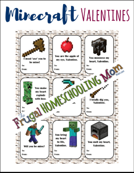 Free homeschool printable Minecraft Valentines The Frugal Homeschooling Mom TFHSM 8x11