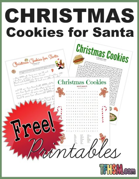 Free printable Christmas Cookies for Santa wordsearch cryptogram poem activities