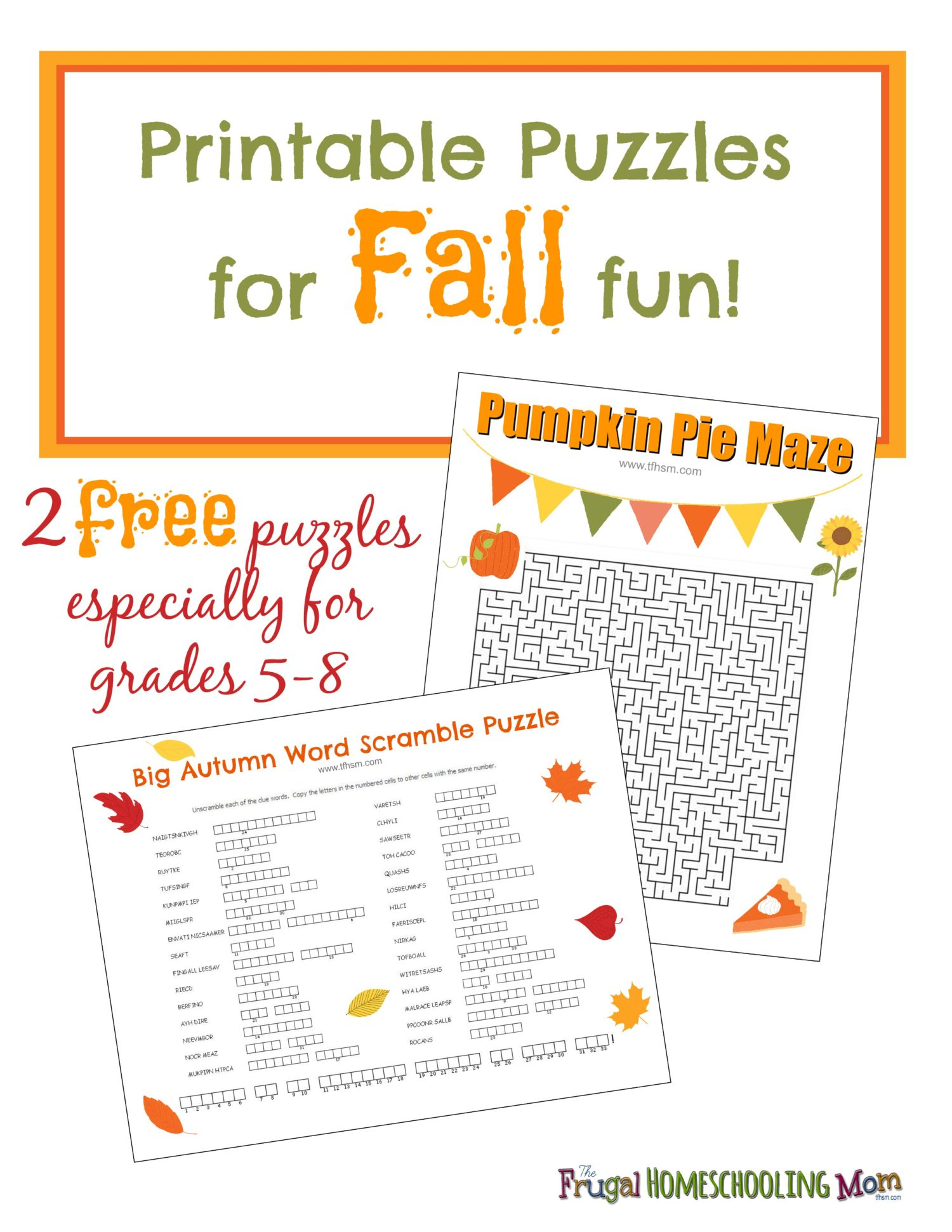Free Fall Printable Puzzles The Frugal Homeschooling Mom Aka Tfhsm