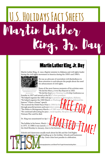 Free homeschool printables copywork lapbooking for Martin Luther King Jr Day