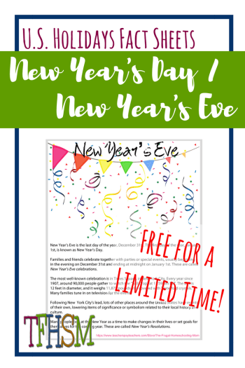 Free homeschool printables copywork lapbooking for New Year's Eve Day