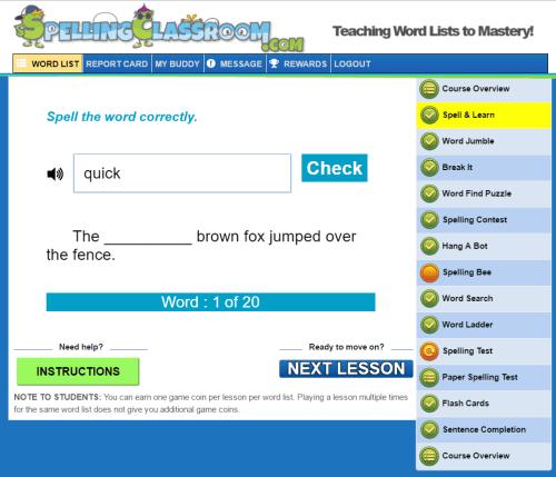 Spelling Classroom Screenshot