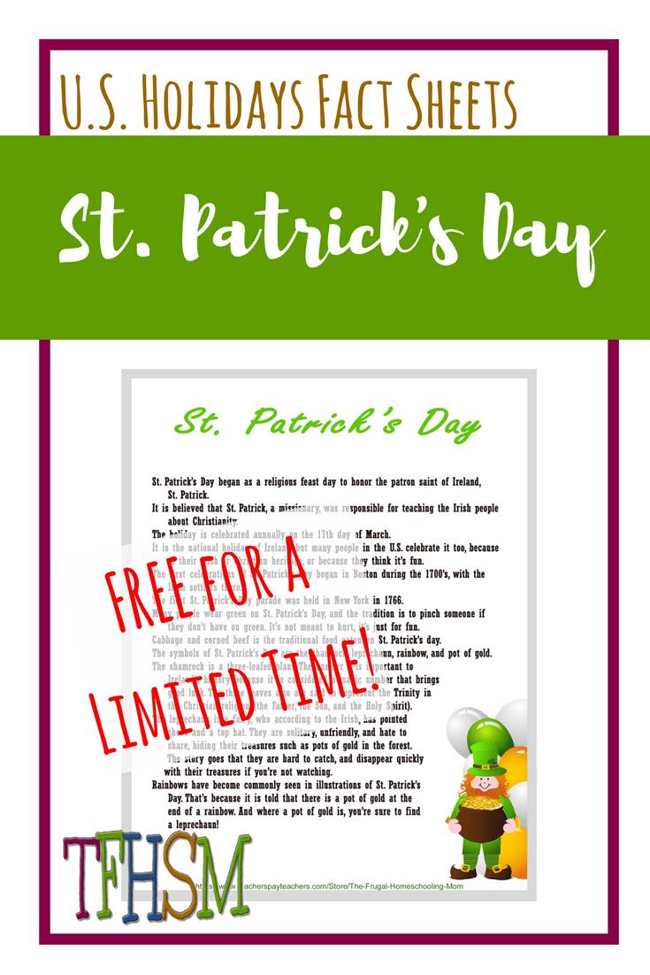 St. Patrick's Day Free homeschool educational printable