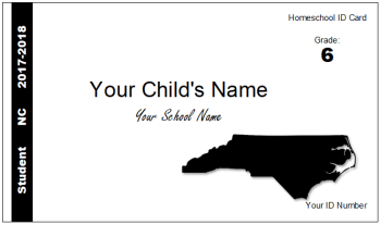 NC homeschool Identification ID card child