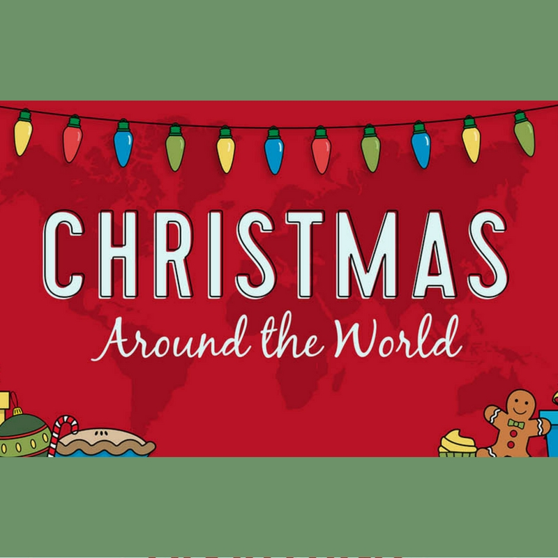 Unit study resources printables infographic for Christmas Around the World