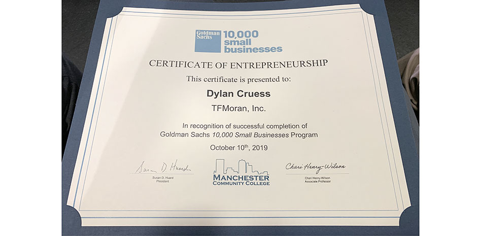 Dylan Cruess Goldman Sachs 10,000 Small Businesses Program 2019
