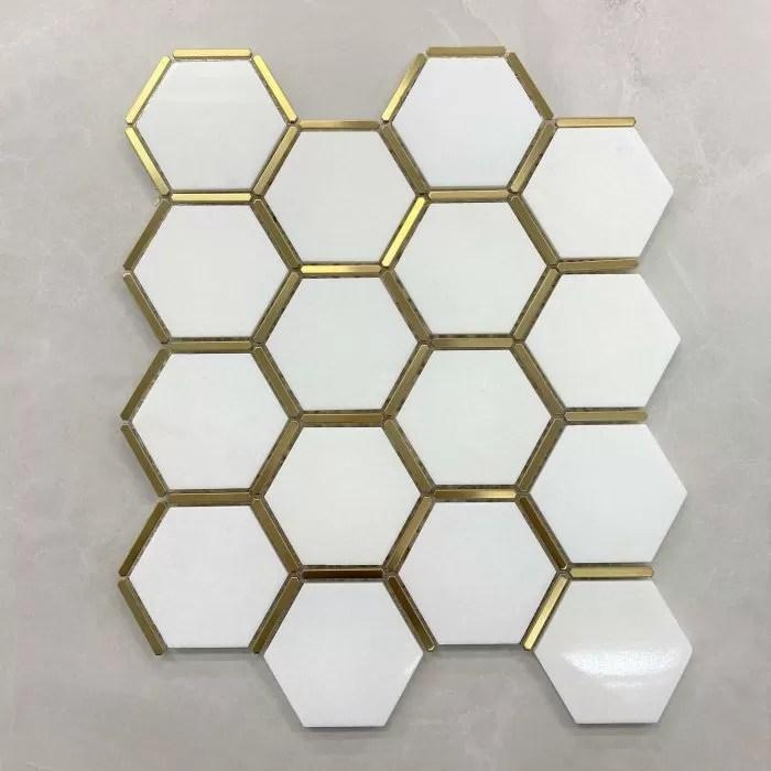 330x280mm white quartz hexagon with stainless steel gold trim mosaic 7571