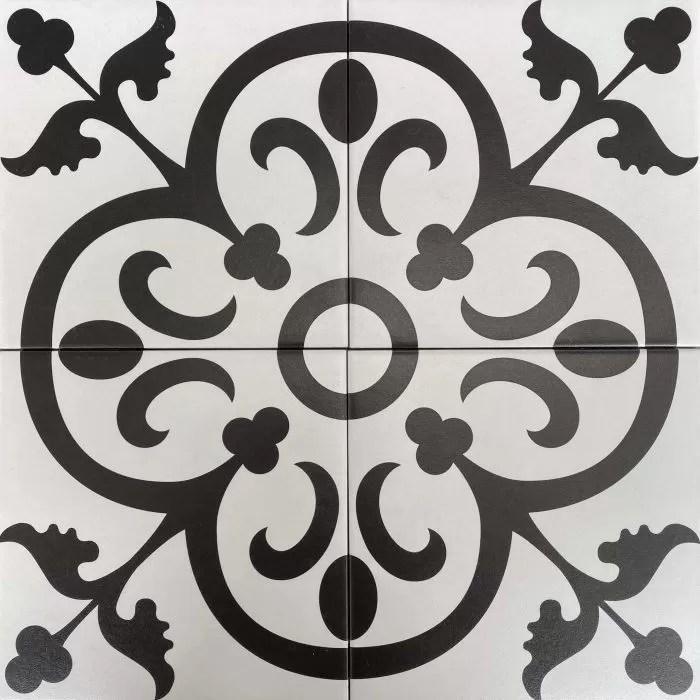 black and white pattern matt non rectified glazed porcelain tile 3444