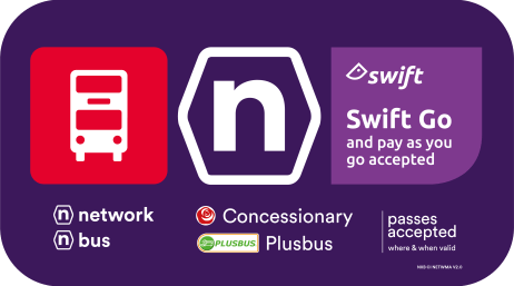 Purple sticker with a 'Swift Go Accepted' notice. This sticker is shown on the side of a bus.