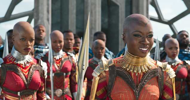Marvel Studios' BLACK PANTHER..L to R: Ayo (Florence Kasumba) and Okoye (Danai Gurira)..Ph: Film Frame..©Marvel Studios 2018