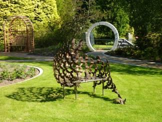 Bench and archway memorial garden