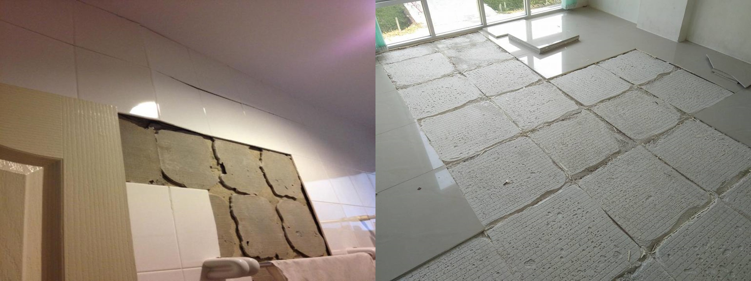 tiling with tile adhesive