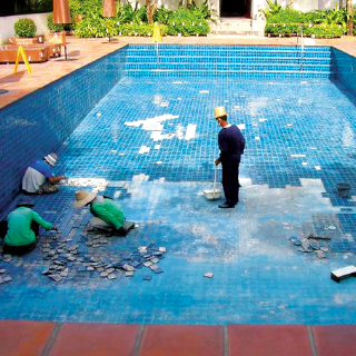 grouting in swimming pool spa and sauna