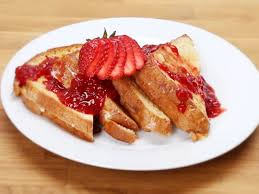 Ricotta Chocolate Chip Stuffed French Toast With Strawberry Syrup