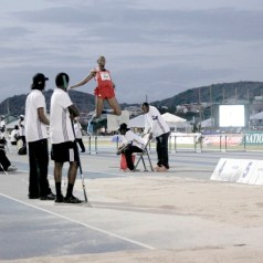 Andwuelle Wright competes in the Boys under-20 long jump, where he grabbed gold with his first effort, a 7.44-metre leap.