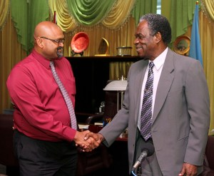 T&TEC Manager of Tobago Operations Ganesh Narine and THA Chief Secretary Orville London.