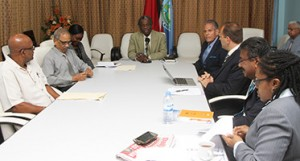 THA Chief Secretary Orville London, centre, chairs the meeting between officials of the THA and CAL at the Administrative Complex, Calder Hall, Tobago on Tuesday (July 14, 2015).