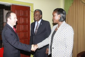 British High Commissioner Tim Stew, left, is greeted by THA Chief Secretary Orville London and Secretary of the Division of Tourism and Transportation, Tracy Davidson-Celestine.
