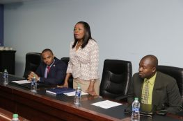 Community Development Secretary Marslyn Melville-Jack, centre, addresses members of the visiting European Union delegation during the meeting. With her at left is Infrastructure Secretary Kwesi Des Vignes and Settlements Secretary Clarence Jacob.