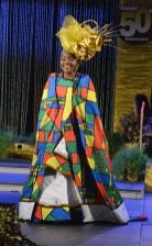 Delaford resident and Windward Afro Queen Show second place winner, Olivia Chadband, smiles for the audience.