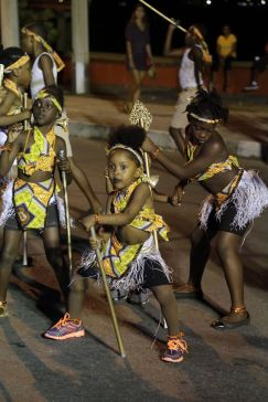Rama's Mas Creations present little Ju Ju Warriors during Monday night Mas.