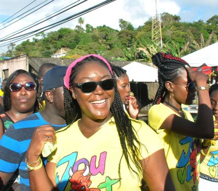 Former Secretary of Tourism and Transportation Tracy Davidson-Celestine enjoys the scene in her constituency of Roxborough.