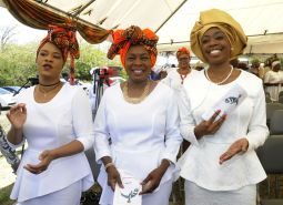 (L-R) Ayanna Webster-Roy, MP Tobago East, attends Spiritual Baptist Liberation Day celebrations along with THA Secretaries Marslyn Melville-Jack, Secretary of Community Development, Enterprise Development and Labour, and Nadine Stewart-Phillips, Secretary of Tourism, Culture and Transportation.