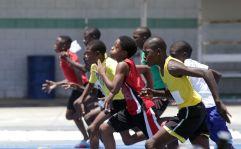 The Boys Under 13 100M race begins.
