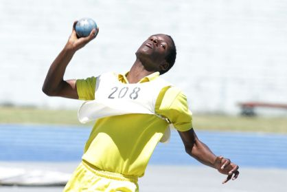 Shot putter Nkosi Tony of Whim Anglican was ahead of all other competitors in the Boys Under 13 shot put.